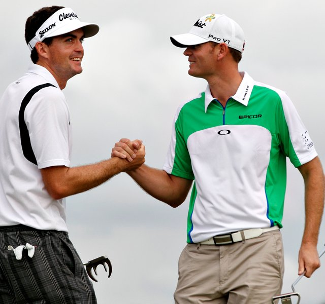 Keegan Bradley, left, and teammate Brendan Steele will try to defend their title at the 2012 Franklin Templeton Shootout at The Ritz-Carlton Golf Resort in Naples, Fla.