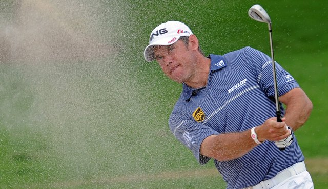 Lee Westwood hits a shot during Round 3 of the Thailand Golf Championship.