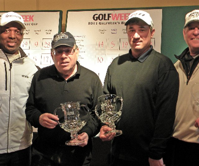 The winning team at the Golfweek Pro-Am at Pebble Beach.