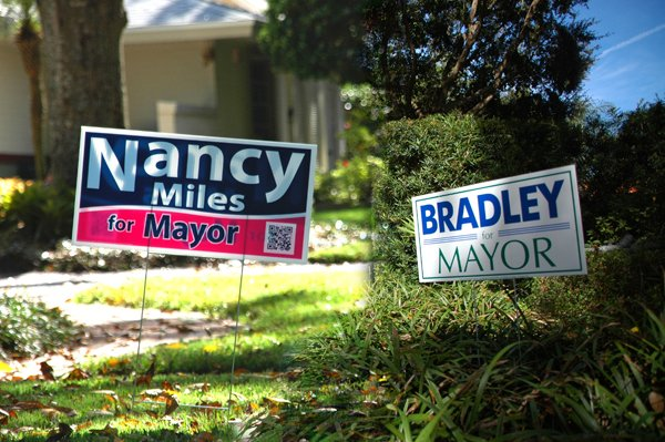 Bradley and Miles campaign signs dot city lawns. (Photo illustration)