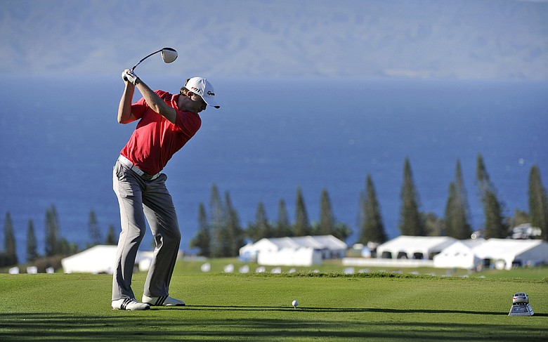 Martin Laird tees off on the 18th hole at Kapalua