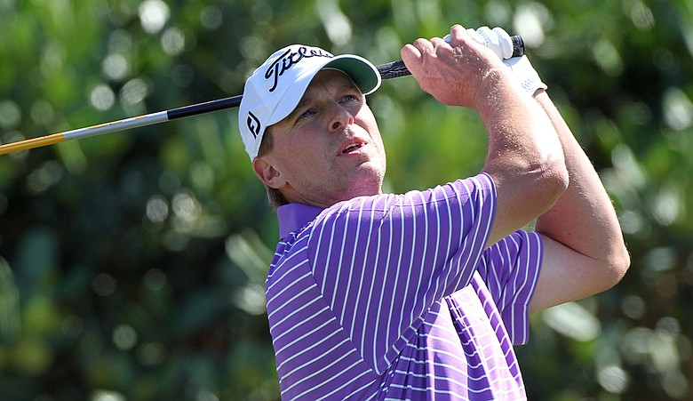 Steve Stricker plays a shot during the third round of the Hyundai Tournament of Champions.