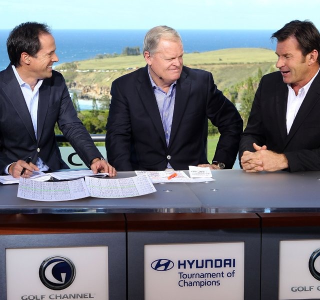 From left, Dan Hicks,  Johnny Miller and Nick Faldo of Golf Channel discuss the action during the first round of the Hyundai Tournament of Champions.
