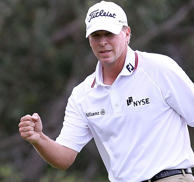Steve Stricker reacts to winning the Hyundai Tournament of Champions at the Plantation Course on Jan. 9, 2012 in Kapalua, Hawaii. 