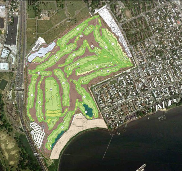 Design sketch for Ferry Point golf course shows site in Bronx County, NY, near Whitestone Bridge with clubhouse/parking lot (lower left), maintenance building (upper left), community park (upper right) and waterfront park (lower).