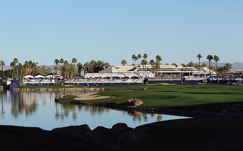 View of the clubhouse on the 18th hole at the Palmer Private course at PGA West