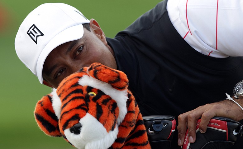 Tiger Woods during a practice round at the Abu Dhabi Golf Club prior to the Abu Dhabi HSBC Golf Championship.