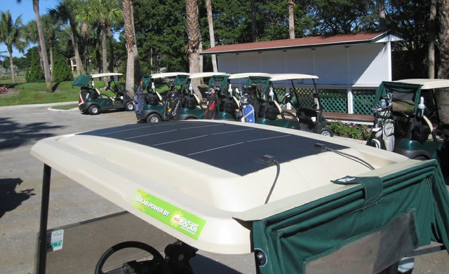 Golf Cart Solar is exhibiting at the PGA Merchandise Show and selling its golf car panels for $427 apiece.