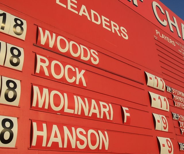 The leaderboard is seen after Round 3 of the Abu Dhabi HSBC Championship, where Tiger Woods and Robert Rock are tied for the lead at 11 under.