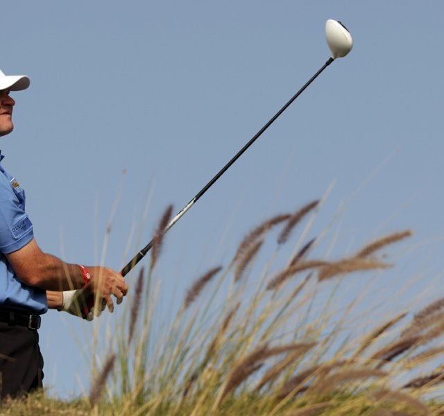 Paul Lawrie of Scotland during the final round of the Commercialbank Qatar Masters at the Doha Golf Club.