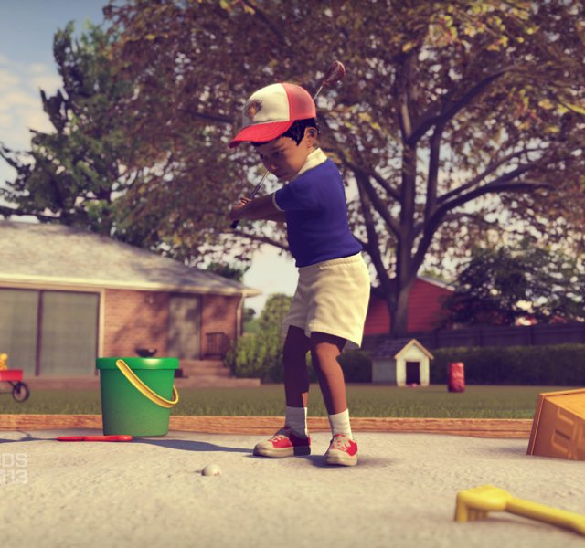 Tiger Woods as a toddler, playing golf out of his sandbox in his backyard as part of the Legacy Mode in the new EA Sports Tiger Woods PGA TOUR &#39;13 video game.