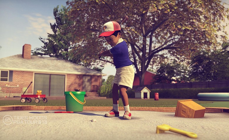 Tiger Woods as a toddler, playing golf out of his sandbox in his backyard as part of the Legacy Mode in the new EA Sports Tiger Woods PGA TOUR '13 video game.