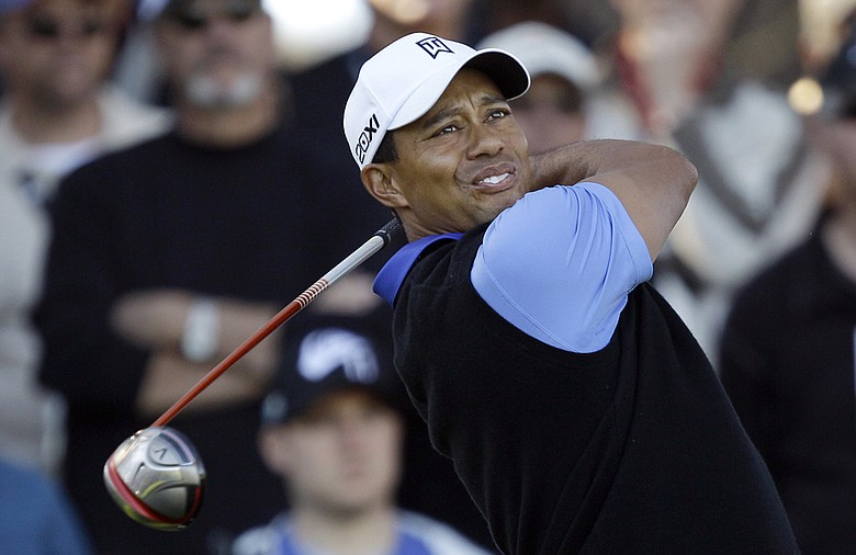 Tiger Woods during the opening round of the AT&T Pebble Beach National Pro-Am
