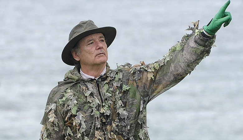 Actor Bill Murray reacts to his missed putt on the fifth hole during the third round of the AT&T Pebble Beach National Pro-Am at Pebble Beach Golf Links.