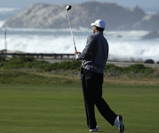 Tiger Woods hits during a practice round at the AT&amp;T Pebble Beach National Pro-Am.