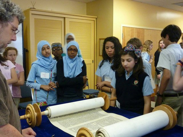 Students from Jewish Academy of Orlando, Geneva Christian School, and Leader's Preparatory School visited The Holocaust Memorial Resource and Education Center of Florida to view the exhibit, BESA: A Code of Honor.