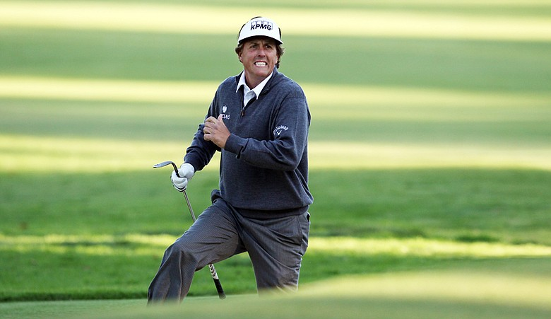 Phil Mickelson during the second round at Riviera