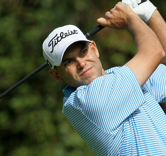Bill Haas hits his tee shot on the 12th hole during the final round of the Northern Trust Open at Riviera Country Club