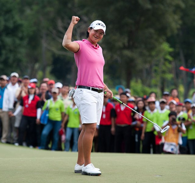 Yani Tseng celebrates her victory at the LPGA Thailand at Siam Country Club on February 19, 2012.