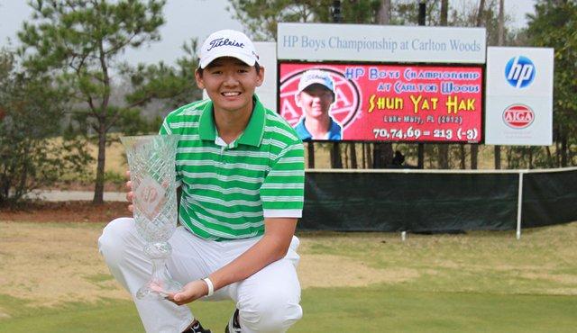 Shun Yat Hak after winning the HP Boys Championship.