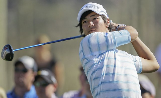 Ryo Ishikawa, of Japan, tees off on two while playing Paul Lawrie during the Match Play Championship.