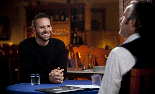Sergio Garcia and David Feherty during an interview for Feherty's Golf Channel show.