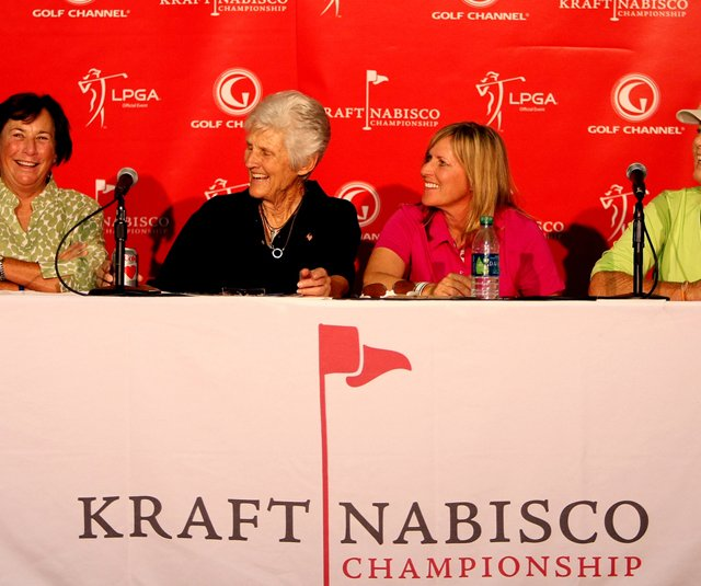 Amy Alcott (far left) with other LPGA greats Kathy Whitworth, Betsy King and Pat Bradley before the 2011 Kraft Nabisco Championship.