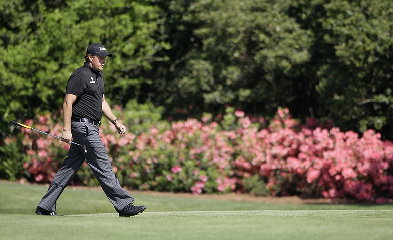 Phil Mickelson during the Masters golf tournament at the Augusta National Golf Club.