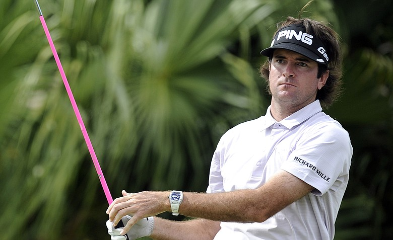 Bubba Watson watches his drive on the eighth hole during the second round of the WGC-Cadillac Championship.