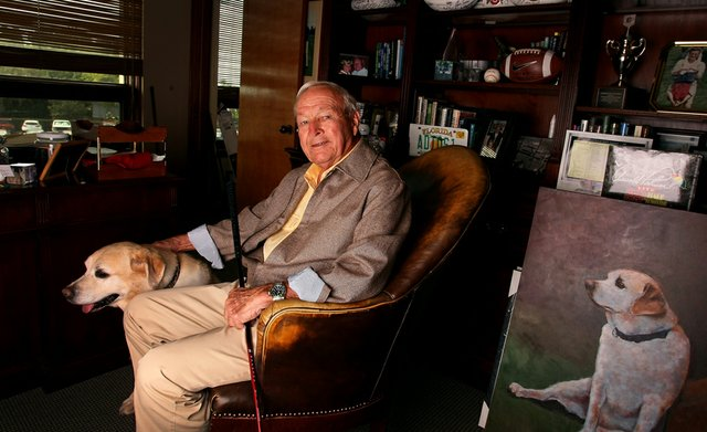 Arnold Palmer Photographed In His Office With His Dog