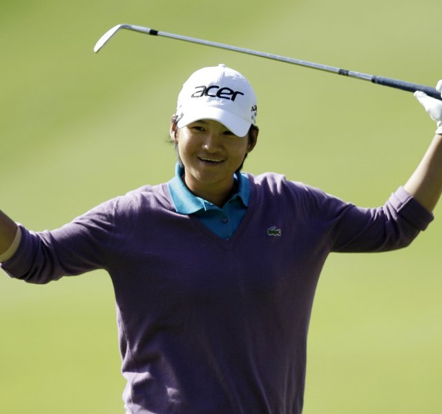 Yani Tseng reacts after chipping from the rough on the 13th hole during the second round of the Kia Classic.