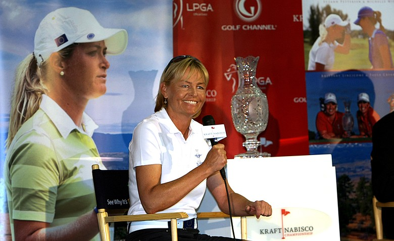 Liselotte Neumann talks about being named Captain of the European team for the 2013  Solheim Cup being held at Colorado Golf Club in Parker, Colorado, during a press conference on Wednesday at the Kraft Nabisco Championship.