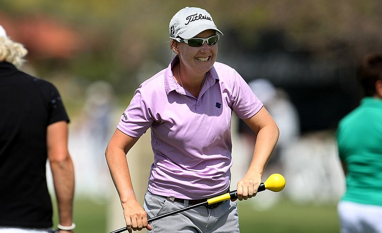 Lindsey Wright has a laugh while on the practice green on Wednesday at the Kraft Nabisco Championship.