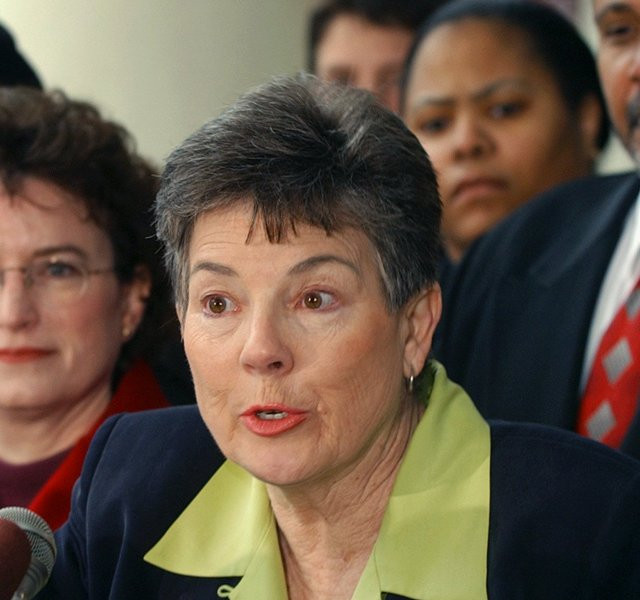 In 2003, Martha Burk, center, chair of the National Council of Women&#39;s Organizations, speaks to media in Atlanta while flanked by Martin Luther King III, right, and Kim Gandy, left, president of the National Organization of Women, as Burk discussed her next move in protesting the male-only membership policy of the Augusta National Golf Club.