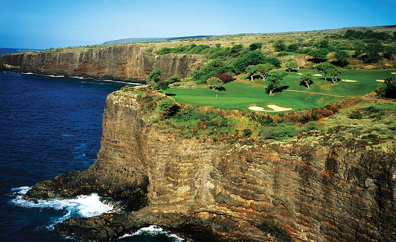 The stunning par-3 12th at the aptly named Challenge at Manele.