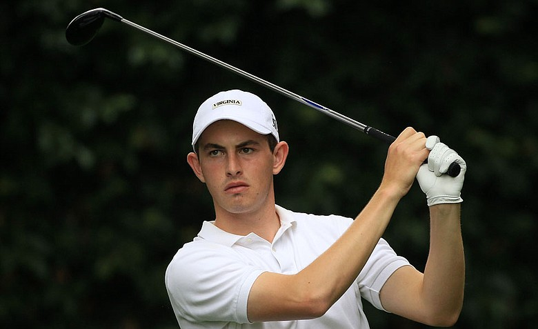 Amateur Patrick Cantlay hits a tee shot during a practice round prior to the start of the 2012 Masters Tournament at Augusta National.