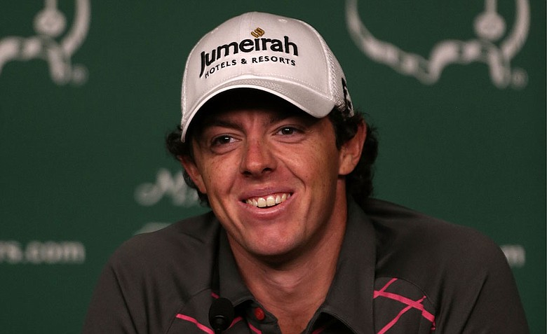 Rory McIlroy of Northern Ireland speaks to the media during a practice round prior to the start of the 2012 Masters Tournament at Augusta National.