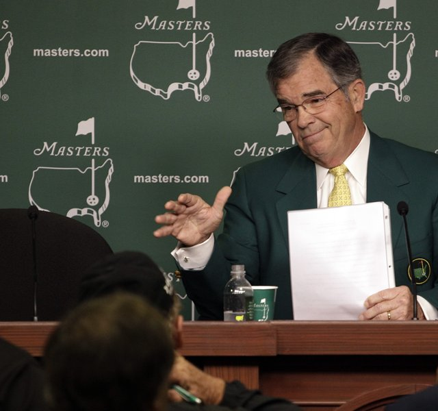 Billy Payne, chairman of Augusta National Golf Club, addresses the media.