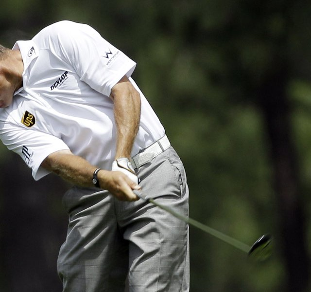 Lee Westwood during Round 1 of the Masters.