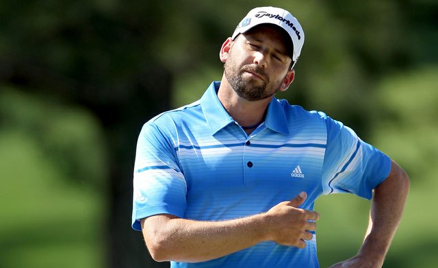 Sergio Garcia looks on from the fourth hole during the third round of the 2012 Masters.