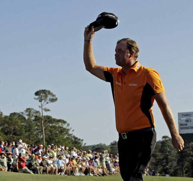 Peter Hanson acknowledges the crowd during the third round of the Masters.