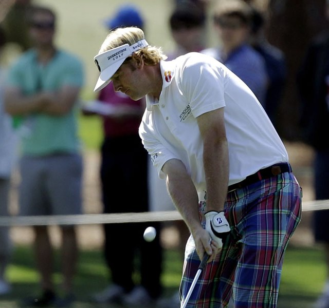 Brandt Snedeker hits off the third fairway during the third round of the Masters.