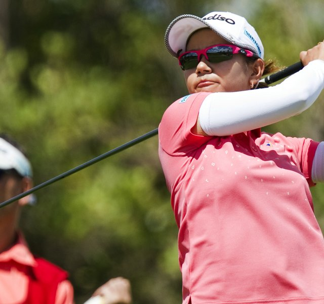 Ai Miyazato, of Japan, watches her drive of the second tee in the third round of the LPGA LOTTE Championship.