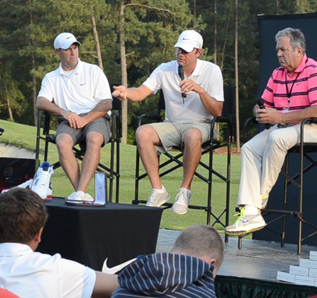 Lucas Glover speaks to the players at the Junior Invitational at Sage Valley.