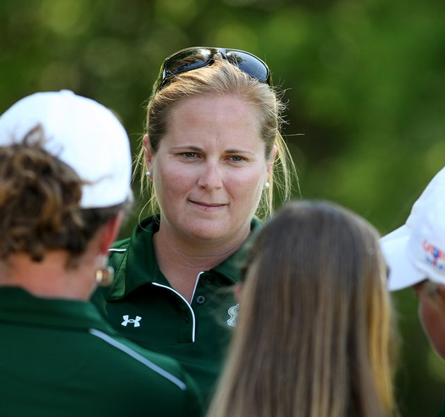 University of South Florida&#39;s head coach Marci Kornegay talks with her team after they won the Big East Women&#39;s Championship at Reunion Resort.
