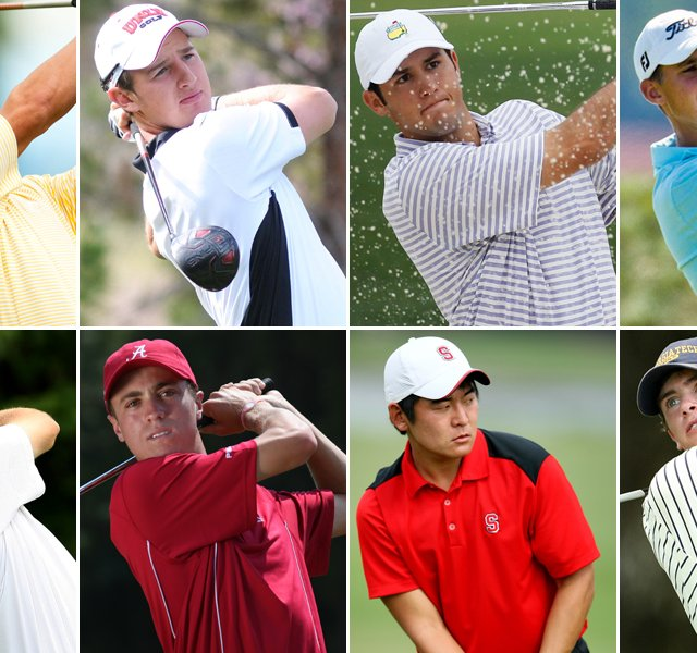 The U.S. team for the 2012 Palmer Cup (clockwise from top left): Blayne Barber, Derek Ernst, Corbin Mills, Patrick Rodgers, James White, Andrew Yun, Justin Thomas and Chris Williams.
