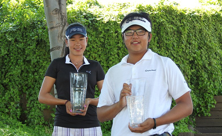 Pailin Ruttanasupagid (left) and KK Limbhasut, winners of the AJGA Under Armour/Gary Woodland Championship.