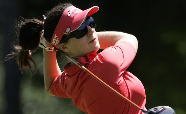 Sandra Gal, of Germany, tees off on the 10th hole during the first round of the Mobile Bay LPGA Classic.