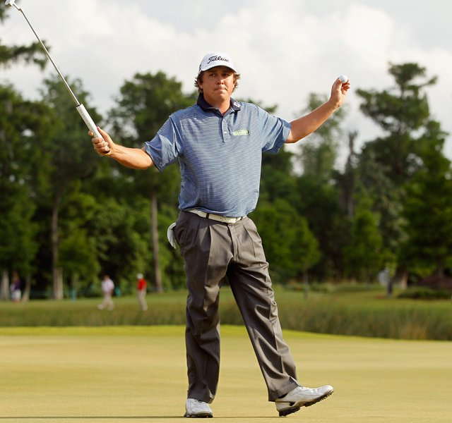 Jason Dufner celebrates after defeating Ernie Els in a two hole playoff to win the final round of the Zurich Classic of New Orleans at TPC Louisiana.