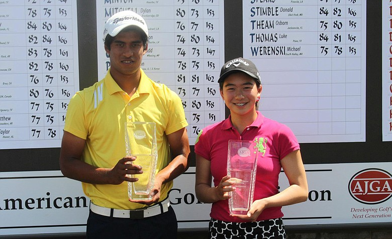 Rigel Fernandes (left) and Mika Liu (right), winners of the AJGA Under Armour/Vicky Hurst Championship.